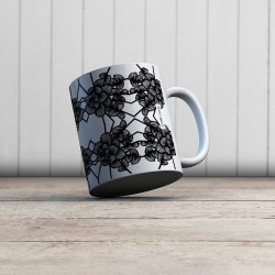 Mug Graphic Flowers Blanc